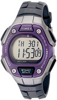 Timex Women's TW5K89500 Ironman Classic 30 Mid-Size Black/Silver-Tone/Purple Resin Strap Watch