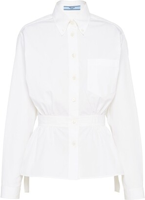Prada Cinched Waist Poplin Shirt
