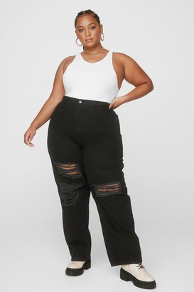 Nasty Gal Womens Because I Shred So Plus Distressed Jeans - Washed Black