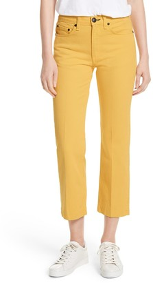 Rag & Bone Solid Color Denim Straight Leg Jeans