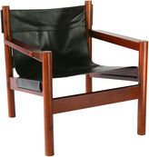Ave Home Anders Lounge Chair, Black Leather