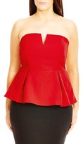City Chic Plus Size Women's 'Deep V' Strapless Corset Top