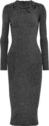 Christopher Kane Embellished Ribbed Lurex Midi Dress