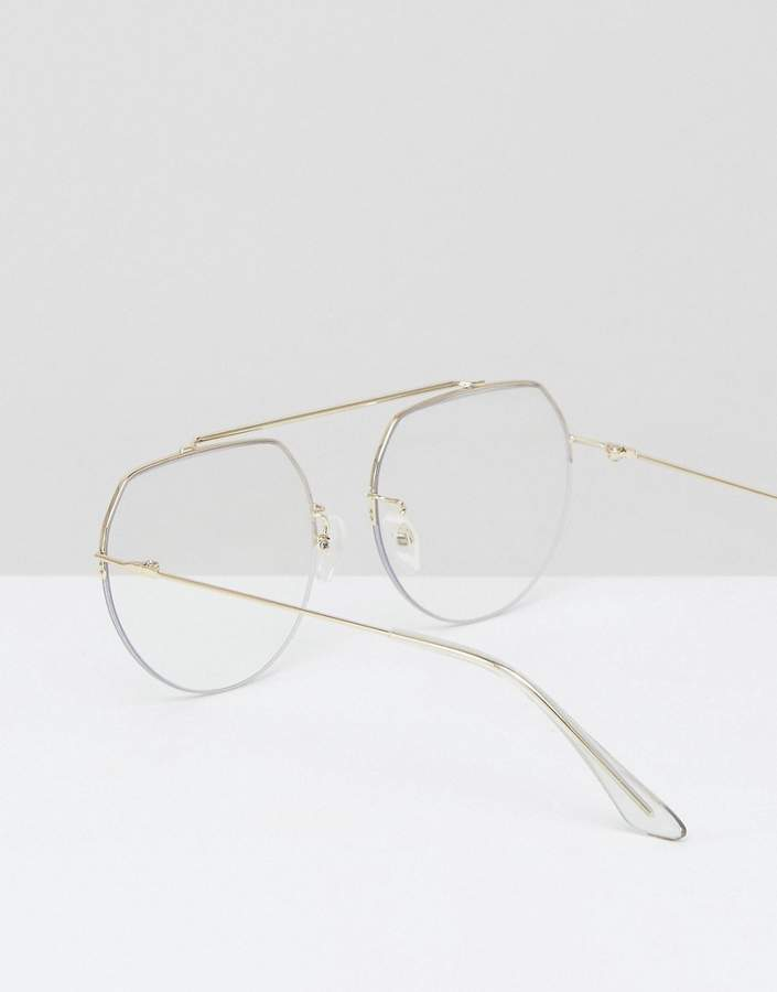 Asos High Bar Clear Lens Geeky Aviator Glasses