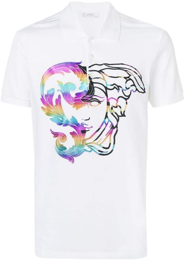 Versace printed Medusa polo shirt