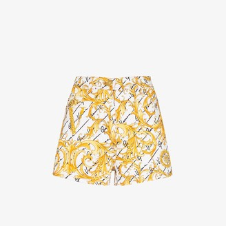 Versace Baroque print denim shorts