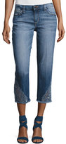 Joe's Jeans The Smith Mid-Rise Cropped Straight Jeans with Floral Embroidery, Nixie