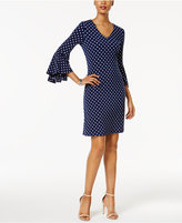 MSK Polka-Dot Bell-Sleeve Sheath Dress