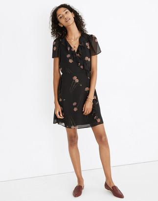 Madewell Georgette Ruffle-Wrap Mini Dress in Aster Portrait