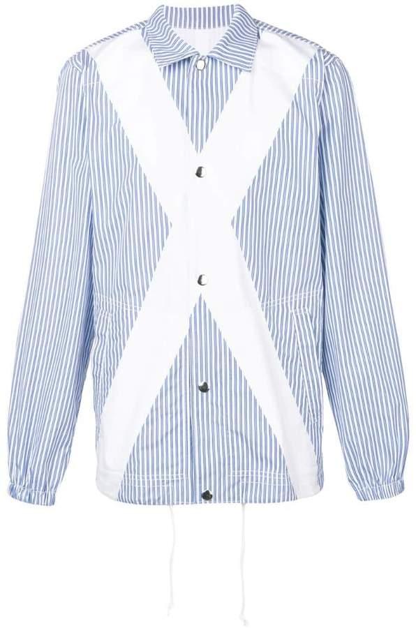 Comme des Garcons panelled striped shirt jacket