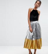 Asos Tall Pleated Midi Skirt In Metallic With Contrast Hem