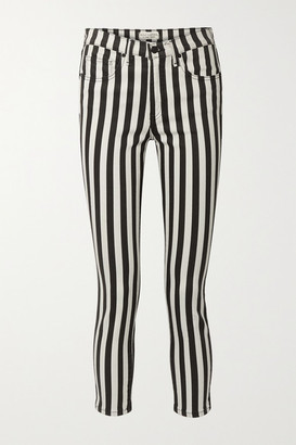Nili Lotan Cropped Striped High-rise Skinny Jeans