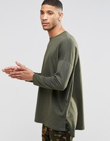 Asos Extreme Oversized Long Sleeve T-Shirt In Khaki