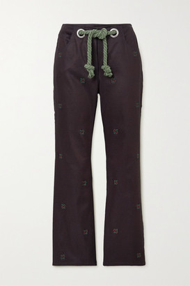 Miaou Net Sustain Tommy Cropped Belted Cotton-blend Straight-leg Pants - Navy