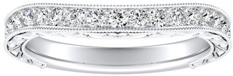 Auriya 3/8ctw Vintage Contour Diamond Wedding Band Platinum