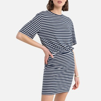 La Redoute Collections Striped T-Shirt Mini Dress with Short Sleeves