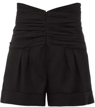 Saint Laurent Gathered-waist Tailored Grain De Poudre Shorts - Womens - Black