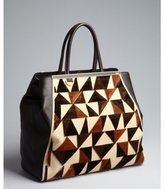 Fendi brown and beige leather and suede '2Jours' triangle detail shopper