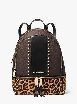 MICHAEL Michael Kors MK Rhea Medium Studded Logo and Leopard Calf Hair Backpack - Brown Multi - Michael Kors