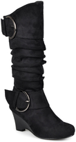 Journee Collection Black Irene Wide-Calf Wedge Boot