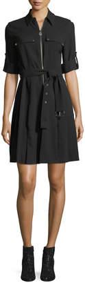 MICHAEL Michael Kors Lock-Zip Crepe Shirtdress