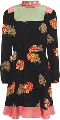 RED Valentino Satin-trimmed Floral-print Silk Crepe De Chine Mini Dress
