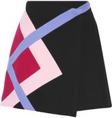 MSGM Color-block Wool-blend Felt Wrap Mini Skirt - Black