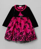 Nannette Pink Rose A-Line Dress & Black Bolero - Infant & Toddler