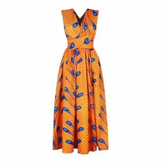 Nimiya Women's One Piece Long Dresses African One Shoulder Cocktail Floral Maxi Dress Orange XL
