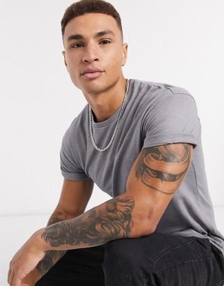 Topman roll sleeve t-shirt in gray