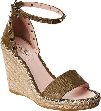 Valentino Rockstud 100 Leather Wedge Sandal