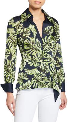Elie Tahari Haylee Leaf-Print Long-Sleeve Silk Blouse