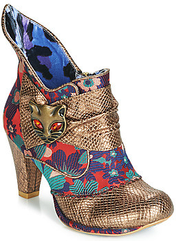 Irregular Choice MIAOW women's Low Ankle Boots in Gold