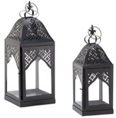 S And W Set of 2 Crown Candle Lanterns - Iron and Glass Candle Holders