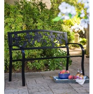 Evergreen 50-inch Dogwood Floral Black Metal Garden Bench