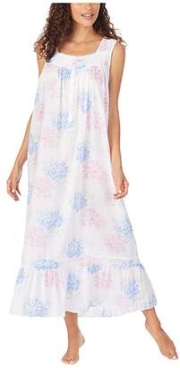 Eileen West Cotton Swiss Dot Woven Sleeveless Ballet Nightgown (White Ground Blue/Pink Hydrangea Floral) Women's Pajama
