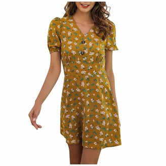 TOPEREUR Women Midi Smock Dress in Ditsy Floral Fashion Floral Print Midi Dress Casual Buttons Front Ribbed Cuff Pencil Dress Yellow
