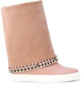 Casadei chain trim mid-calf sneakers - women - Calf Leather/Nappa Leather/rubber - 35