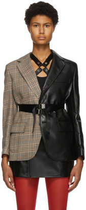 Junya Watanabe Black Faux-Leather and Tweed Blazer