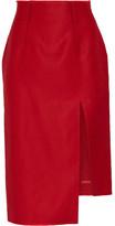 Acne Studios Lynton Asymmetric Wool And Silk-blend Midi Skirt - Red