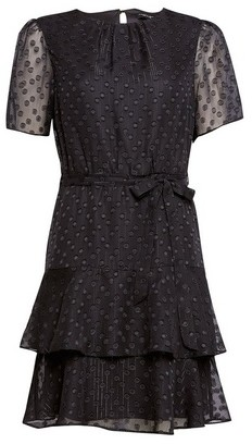 Dorothy Perkins Womens Black Ruffle Fit And Flare Dress, Black
