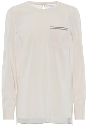 Brunello Cucinelli Embellished stretch-silk top