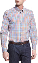 Neiman Marcus Check Sport Shirt, Brown/Blue
