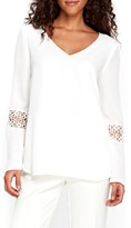 Wallis Women's Crochet Inset Bell Sleeve Blouse