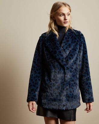 Ted Baker Leopard Print Faux Fur Coat