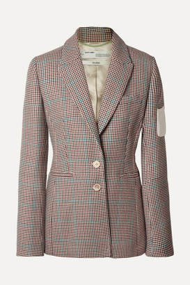 Off-White Off White Appliqued Checked Wool Blazer - Brown