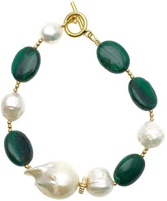 Farra Malachite & Baroque With Edison Pearls Bracelet