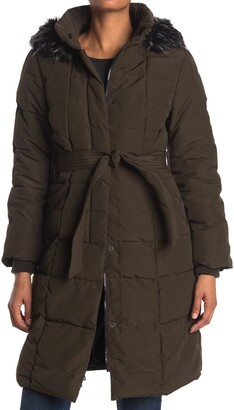 Kensie Maxi Belted Puffer with Faux Fur Hood