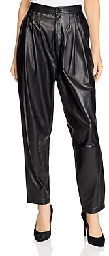J Brand Nila Pleated Leather Straight Jeans in Black
