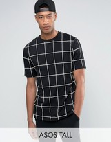 Asos Tall Longline T-shirt With All Over Grid Check Print In Skater Fit